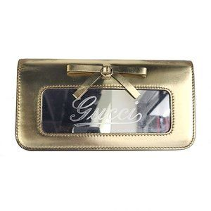 authentic GUCCI Leather Clutch Metallic Gold